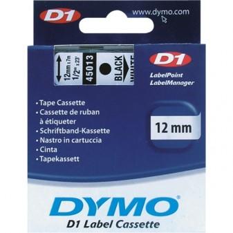Páska Dymo D1 45013 12mm/7m černá/bílá