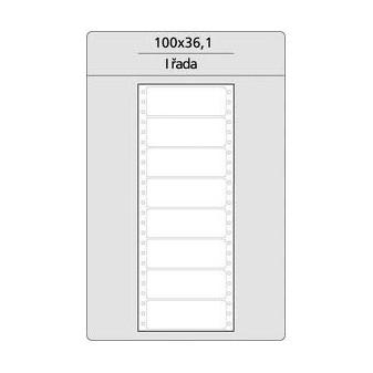 Tabelační etikety s vodící drážkou jednořadé a dvouřadé - 100 x 361 mm jednořadé 4000 etiket / 500 skladů