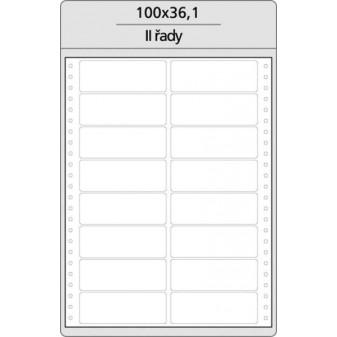 Tabelační etikety s vodící drážkou jednořadé a dvouřadé - 100 x 361 mm dvouřadé 8000 etiket / 500 skladů