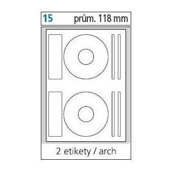Print etikety A4 pro laserový a inkoustový tisk - průměr 118 mm na CD