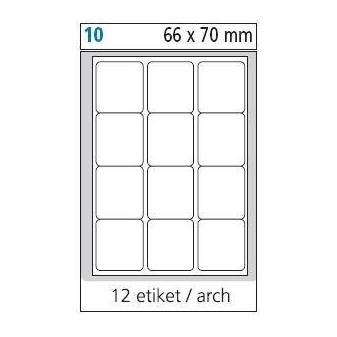 Print etikety A4 pro laserový a inkoustový tisk - 66 x 70 mm (12 etiket / arch)