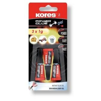 Vteřinová lepidla Kores - Power Glue gel 3 x 1g
