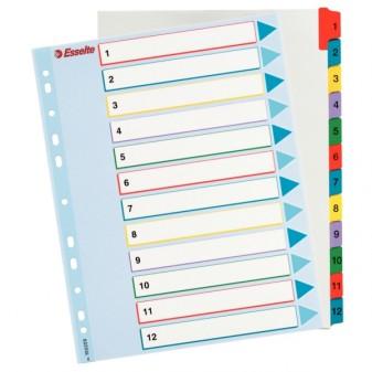 Rejstřík kartonový A4 1–12 Esselte 100162 Mylar