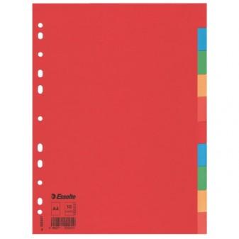 Rozlišovač kartonový Esselte Economy A4 10 listů různobarevné